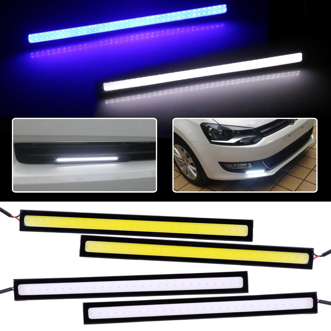 beler New 2pcs 12V Super Bright LED Waterproof Daytime Running Lights Auto Car Styling Decoration DRL COB Fog Driving Lamp