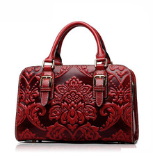 2016 New women genuine leather bag fashion chinese style quality luxury women leather handbags shoulder bag cowhide embossing