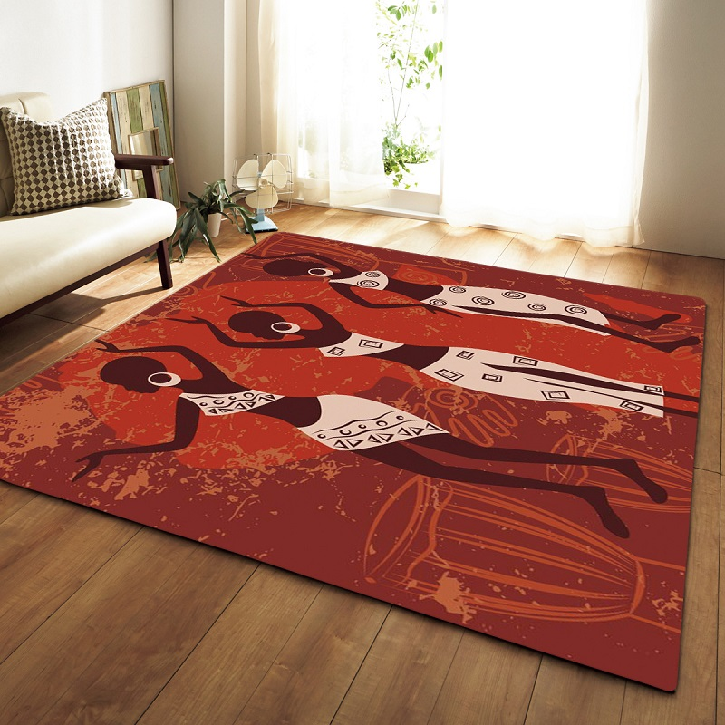 African Style Portrait Large Carpets For Living Room Non-slip Sofa Tatami Floor Mat Home Area Rugs Bedroom Alfombra Tapis Salon
