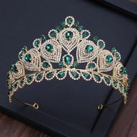 European Green Crystal Crown Beauty Pageant Headdress Retro Queen Crowns Tiaras Baroque Wedding Bridal Diadem Headpieces ML683
