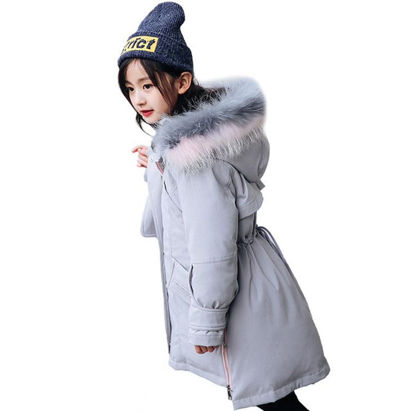 2018 New Children Girls Parkas Girls Jackets Clothes Outerwear Baby Hooded Fur Collar Padded 80% White Duck Down Warm Coats E241 buenos ninos thick winter children jackets girls boys coats hooded raccoon fur collar kids outerwear duck down padded snowsuit