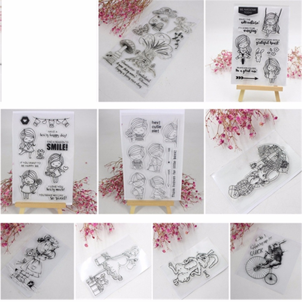 Girl & Dog Mushroom Rabbit Clear Stamp for Scrapbooking Transparent Silicone DIY Album Decor-m17 lovely animals and ballon design transparent clear silicone stamp for diy scrapbooking photo album clear stamp cl 278