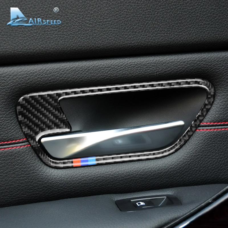 Carbon Fiber Side Door Handle Bowl Cover Trim For BMW 5 Series F10 W// M Stripe