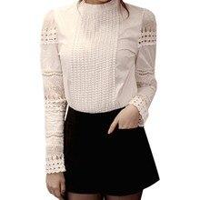 Модная женская блузка, тонкая, с вышивкой, стоячий воротник, длинный рукав, рубашки, вязанные крючком, однотонные, белые, хлопковые, с дырками, подходят ко всему