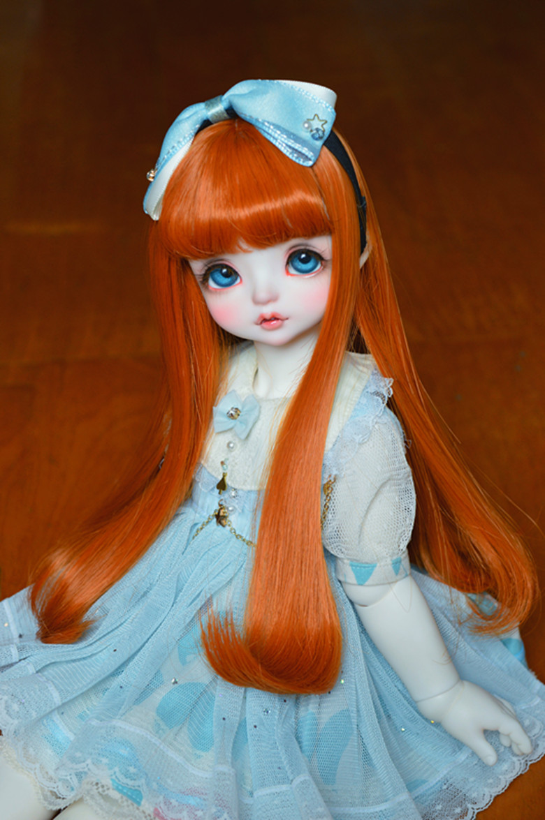 BJD Doll Wig Suitable For 1/3 1/4 1/6 1/8 MSD DD Color Air Bangs Inside Buckle Big Pear Flower High Temperature Silk Doll Access