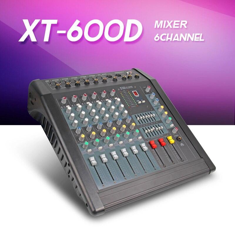 XT606D USB MP3 Professionnel Audio Mélangeur Machine 6 Canaux Sonores console intégré amplificateur de Puissance 500 W * 2 48 V alimentation fantôme