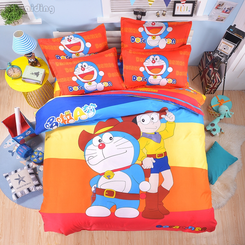Home Textile Cartoon Character Doraemon Bedding Set Chidren Cotton Bed Linen Bedclothes Include Duvet Cover Bed Sheet Pillowcase