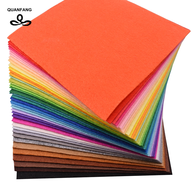 QUANFANG 40pcs/ 15cm*15cm 1mm Nonwoven Felt Fabric Thickness Polyester Cloth Of Home Decoration Bundle For Sewing Dolls Crafts