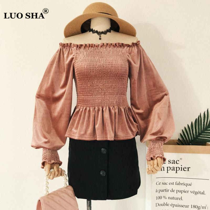 503b0ce6c352c0 LUOSHA Women Autumn Winter One Shoulder Long Sleeve Velvet Blouse Lantern  Sleeve Tunic Waist Top And