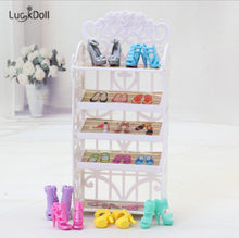 LUCKDOLL&Doll Accessories Select Shoes / Shoe Cabinet White Shelf Doll Toy House Furniture Girls Toys,Generation,Birthday Gift(China)