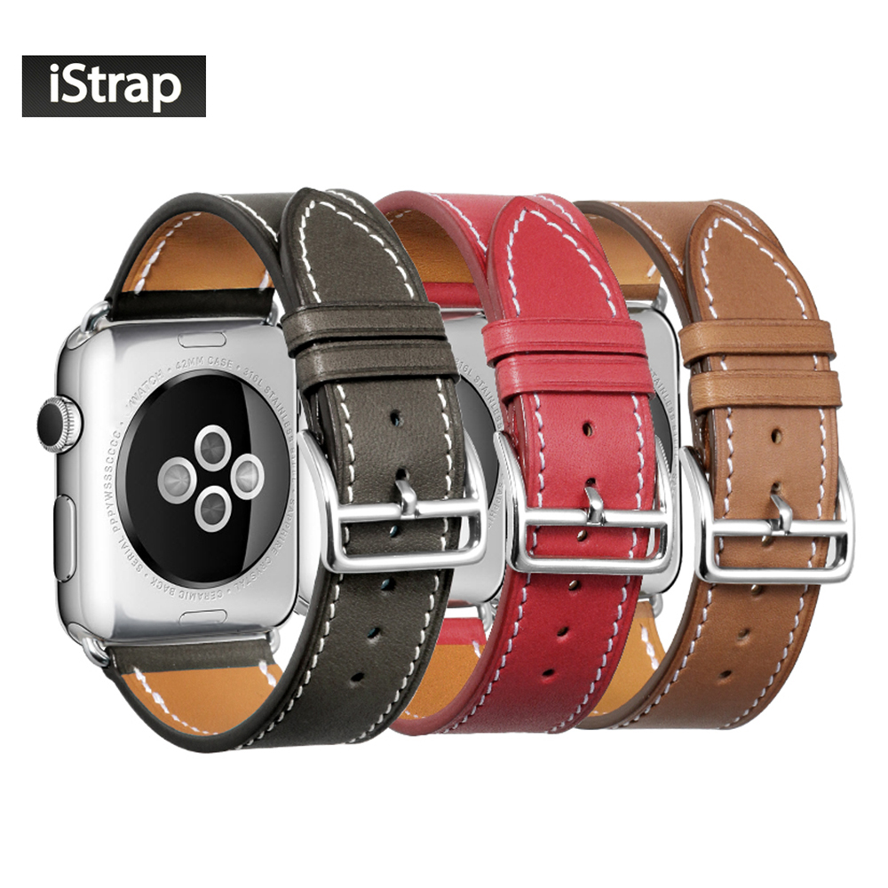 iStrap Sort Brun Rød Fransk Kalv Læder Enkelt Tour Armbånd Urrem til iWatch Apple Watch Band 38mm 42mm / 40mm 44mm