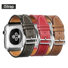 iStrap Black Brown Red French Calf Leather Single Tour Bracelet Watch Strap for iWatch Apple Watch Band 38mm 42mm / 40mm 44mm