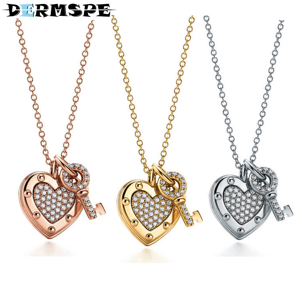 цена на DERMSPE 925 Sterling Silver Genuine Brand NewTiffany Lady Heart Charm Charm Clavicle Key Pendant Necklace Rose Gold