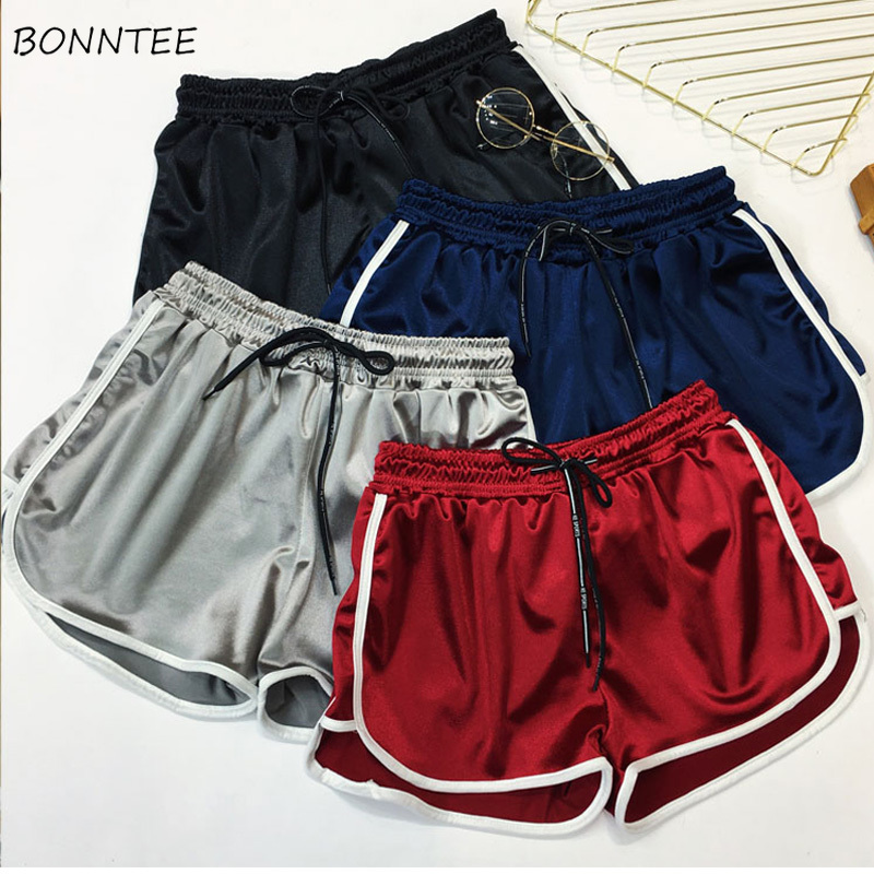 Shorts Women Running Female Summer Students High Waist Leisure Wide Leg Loose House Womens Large Size Trendy Simple Ladies 2019