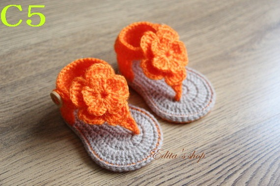 Freies Verschiffen Häkeln Babyschuhe Baby Orange Blumen Flip Flops
