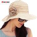 Элегантный Случайные Летние Шляпы Для Женщин Пляж 2016 Новая Мода Шляпа солнца УФ-Защитой С Большими Головами Раза Chapeu Praia Viseira