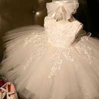 Lace Flower Fancy Children Wedding Party White Girl Ceremony Dress Girl Beautiful Christening dress