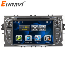 цены Eunavi 7'' 2 Din Car DVD Radio Player for FORD/Focus/S-MAX/Mondeo/C-MAX/Galaxy GPS Navigation Stereo Video Head unit Car pc bt