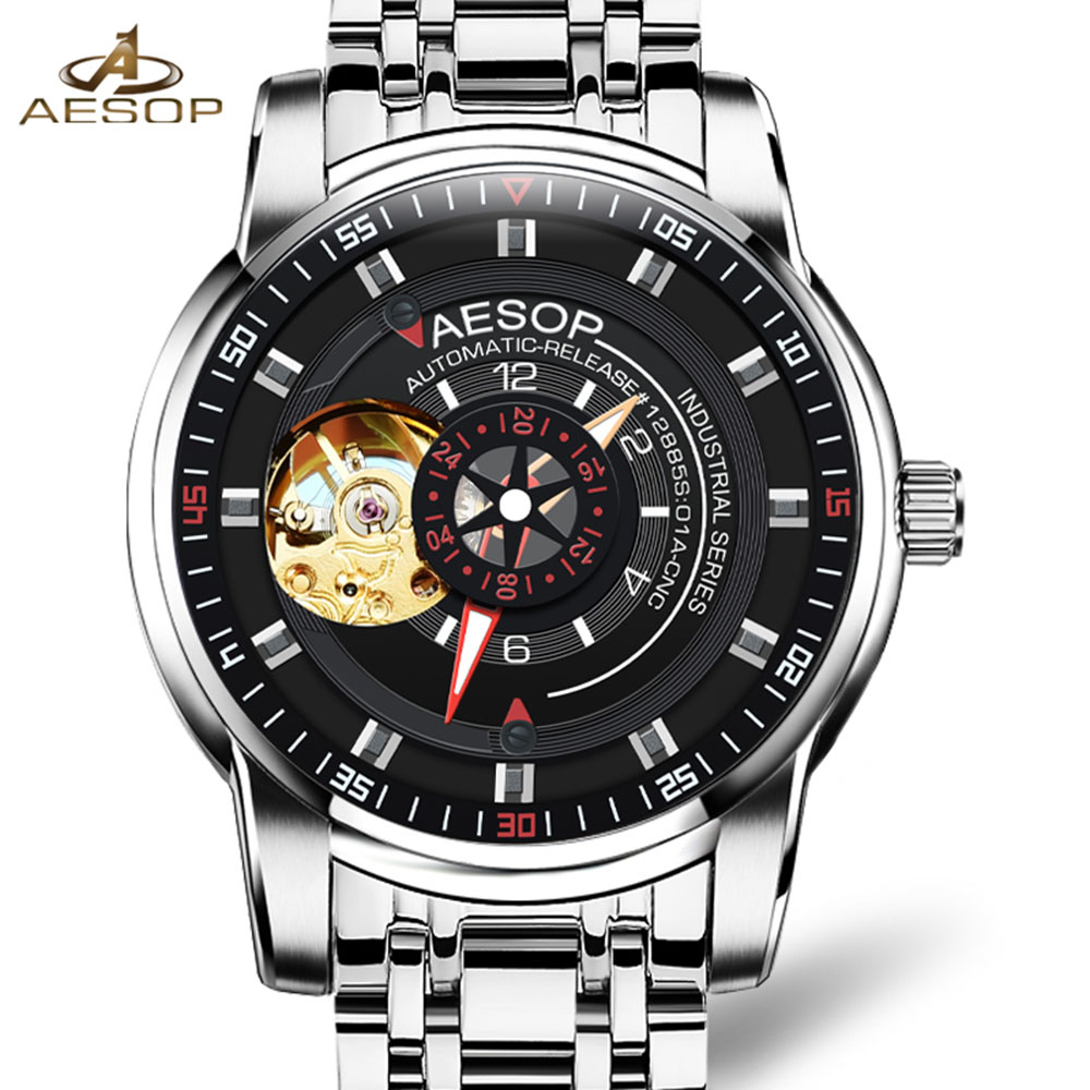 AESOP Automatic Self-Wind Watch Men Hollow Sapphire Stainless Steel Waterproof Wristwatch Transparent Relogio Masculine стоимость