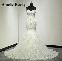 Vestidos De Noiva Real Photo Beaded Sexy Mermaid Wedding Dress Lace Backless Wedding Dresses Bridal Gown