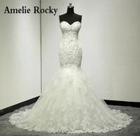 Vestidos De Noiva Real Photo Beaded Sexy Mermaid Wedding Dress Lace Backless Wedding Dresses Bridal Gown