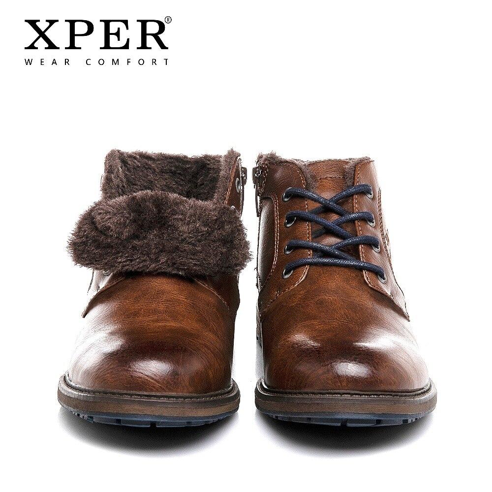 XPER Motocicleta Botas de Pele De Inverno Quente Ankle Boots Homens Moda Roma Fretwork # XHY12507BR Conforto Desgaste Outono Inverno Sapatos Masculinos /M