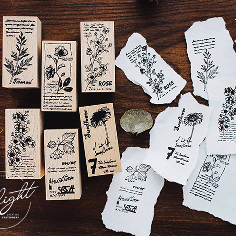 Vintage Beautiful Flower Stamp DIY Wooden Rubber Stamps