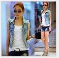 Novo estilo coreano mulheres Denim colete 2015 verão lavado Denim colete de jeans casacos senhora S / M / L / XL frete grátis
