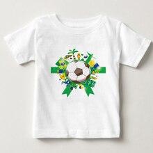 Boy multi player sports football print T-shirt summer short sleeved cotton childrens favorite