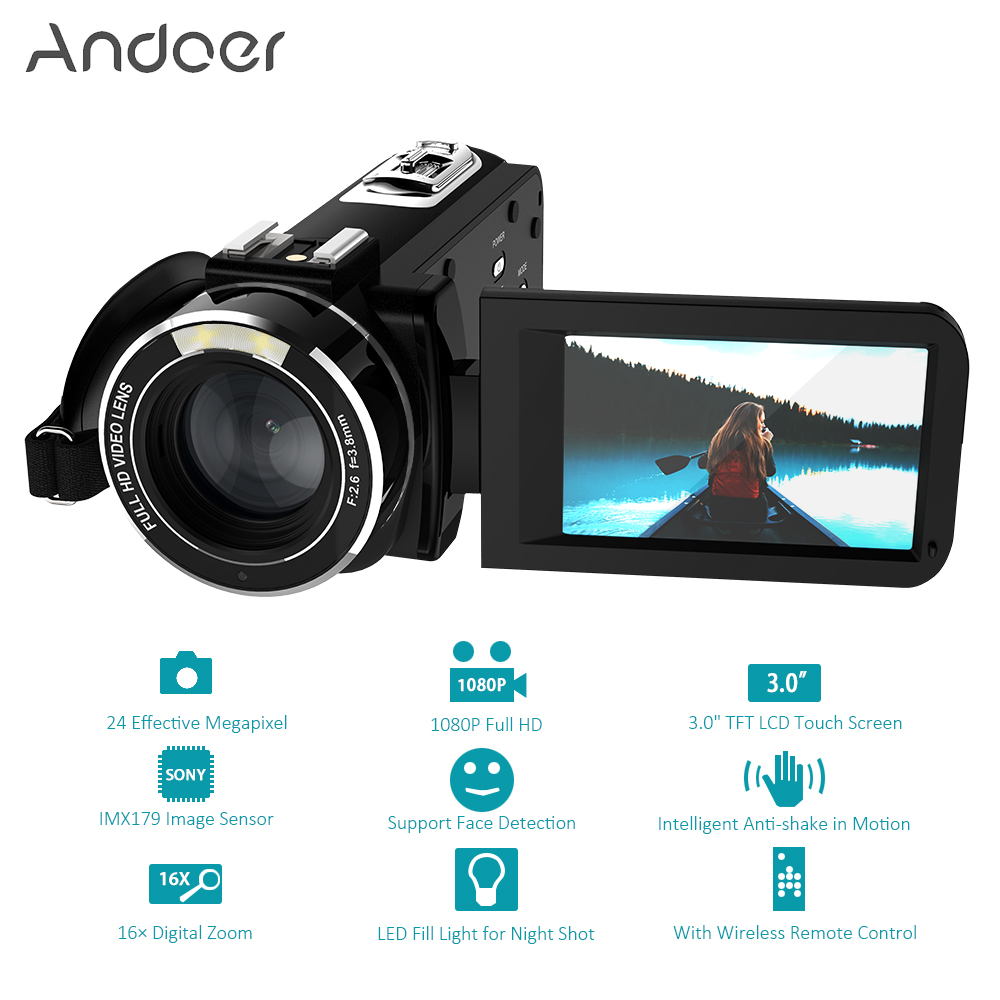 "Andoer HDV-Z20 1080P Full HD WiFi Digital Video Camera 3.0"" Rotatable IPS Touchscreen 24 MP 16x Digital Zoom Mini Camcorder DV"