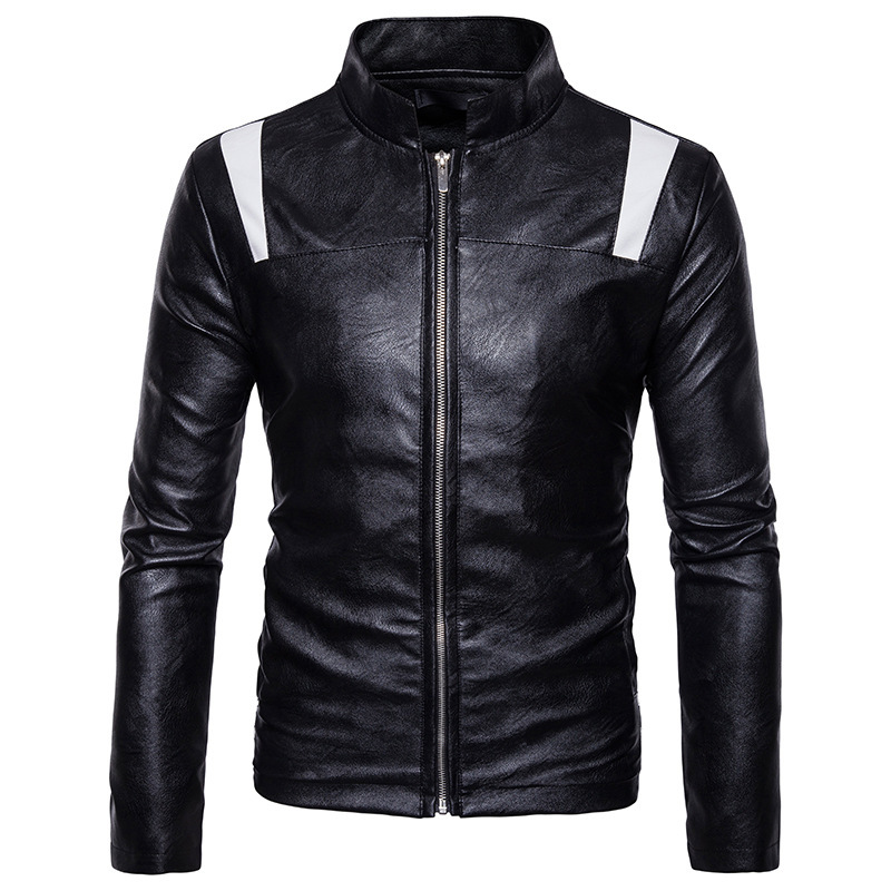 High Quality Creative Autumn Autumn Winter Clothing New Mens Leather Jacket Zipper Collar Stitching Symmetry