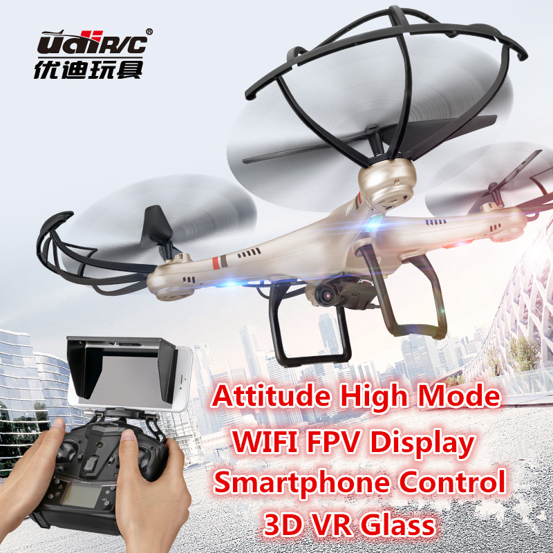 Newest rc drone UDI I350HW WIFI FPV 3D VR glass drone With HD Camera 2.4G 4CH 6Axis Altitude Hold RC Quadcopter vs h26w X601H