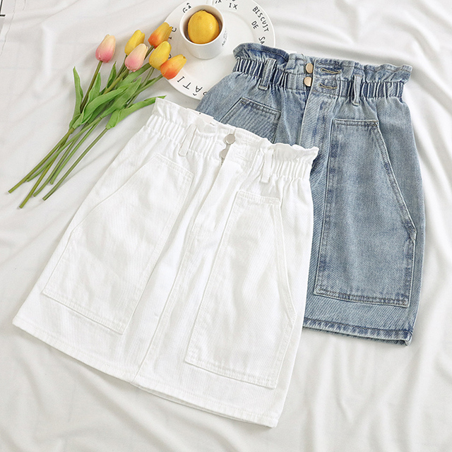 Elastic Waist Summer Women Denim Skirt Pockets Sexy White High waist jeans Skirts A-line Casual Ruffles Female mini saia mujer 1