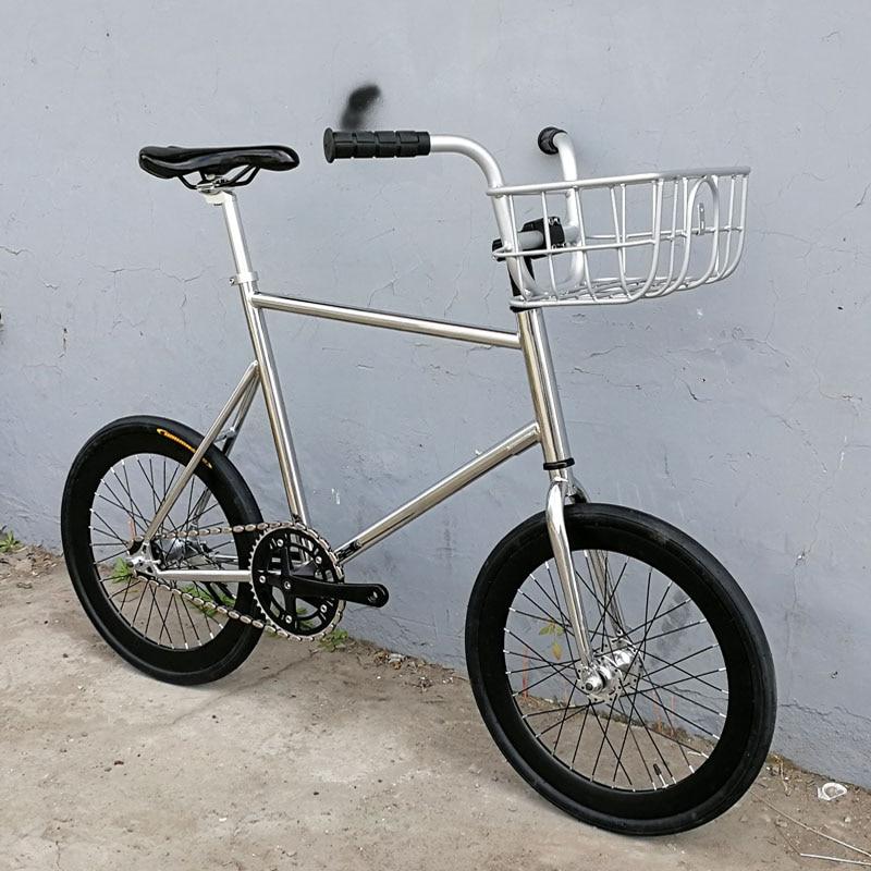 Fixie Bicycle 20 Inches  Fixed Gear Bike  Track Bike 30mm Rim FRAME  Road Bike With Front V Brake Basket