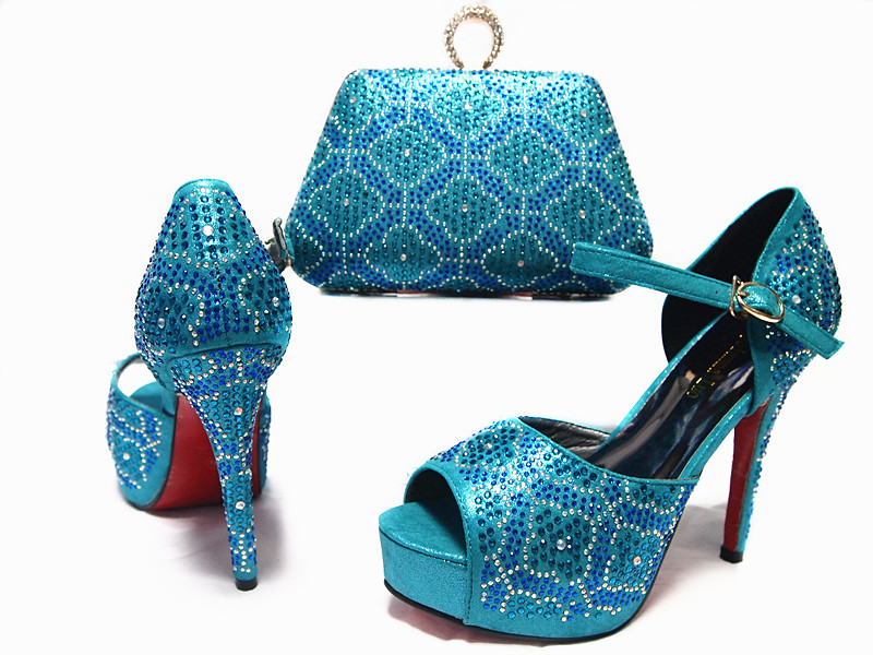 info for 82d0f 11066 Turquoise blue fashion clutches bag matching 4.5 inches pumps shoes dance  shoes and bag newest italy design SB8023
