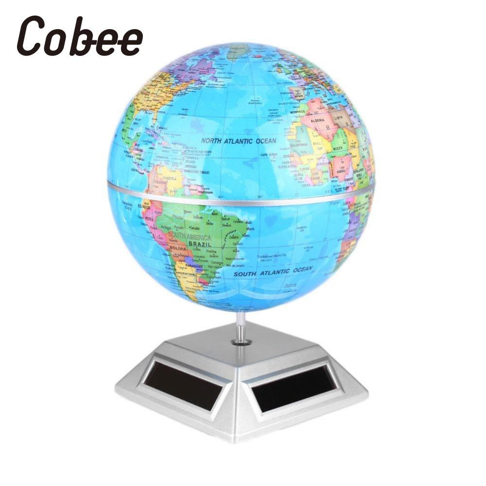 Cobee Solar Power Supply Automatically Rotating Earth Globe World Map with a Base Geography Teaching Learning Tool school 1pc 32cm world globe map ornaments with swivel stand home office office shop desk decor world map geography educational tool
