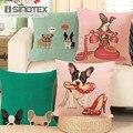 Cushion Cover Animal French Bulldog Pug Dog Pillowcase Woven Cotton Linen Car Pillow Covers Decorative Home Decor 1PCS/Lot