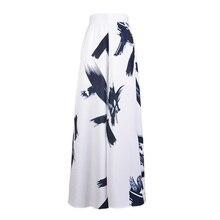 Casual Fashion Ink-print White Wide Leg Pants Women Summer Loose Hem Split Long Trousers High Waist Belt Loose Pants Femme 2018