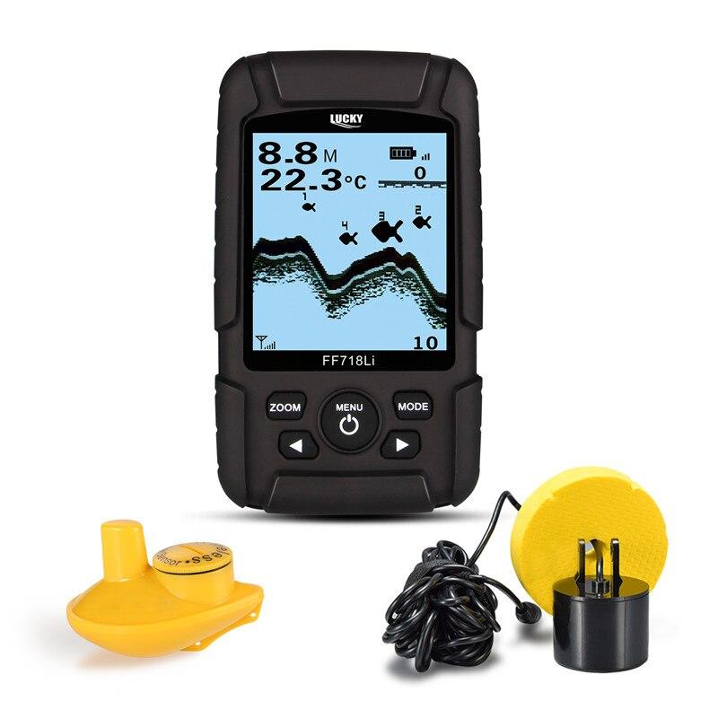 GLÜCK 328ft/100 m tiefe Fishfinder Sonar Wandler 2-in-1 Wired & Wireless Sensor Tragbare Wasserdicht fisch Finder FF718Li