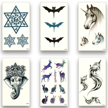 12 Sheets Temporary Fake Tattoo Waterproof Water Transfer Deer feather bat Fox Word unicorn Stickers Women Men Beauty Body Art