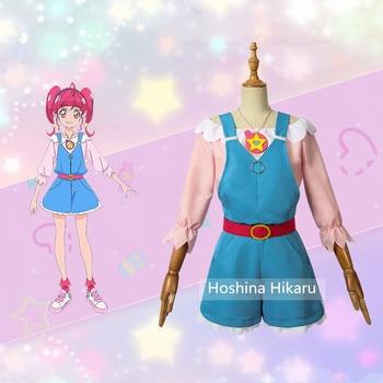 Anime! Star Twinkle Precure Hoshina Hikaru Cure Star Lovely Uniform Cosplay Costume Daydress For Women Free Shipping