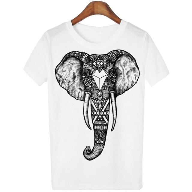2016 Casual T-shirt Women Tshirt Short Sleeve Kawaii Elephant Print Camisetas Mujer Tops Tee Shirt Female O-neck White Tees