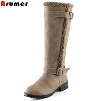Asumer Fashion Winter New Arrive Women Boots Black Khaki Flock Buckle Knee High Boots Med Heel