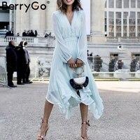 BerryGo Elegant women chiffon dresses summer dress 2019 boho dress long sleeve dresses V neck hair ball mid plus size Vestidos