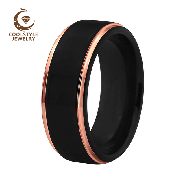 51282ec09d1 8mm Mens Wedding Band Two Tone Black Rose Gold Tungsten Carbide Ring  Brushed Center Dome Comfort Fit