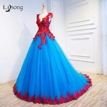 Rojo Azul Apliques de Noche Formales Vestidos Vestidos de Bola de Dos tonos Piso-Longitud del vestido de Bola vestido de festa de Noche Nupcial vestidos