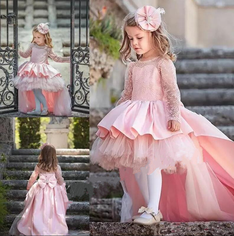 Lovely Lace Flower Girl Dresses Hi-Low Jewel Neck Pink Long Sleeve Pageant Dresses Fluffy Tiered Satin Girls Pageant Dress купить в Москве 2019