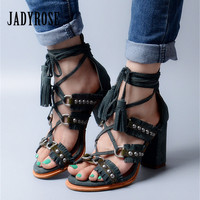 Jady Rose Sexy Suede Women Summer Sandals Fringed Chunky High Heel Shoes Woman Lace Up Rivets