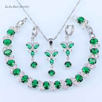 L & B Criado Verde Esmeralda Cristal Branco Conjuntos de Jóias de Cor Prata Para As Mulheres Longo Pulseira/Brincos/pendente/pendente da Colar
