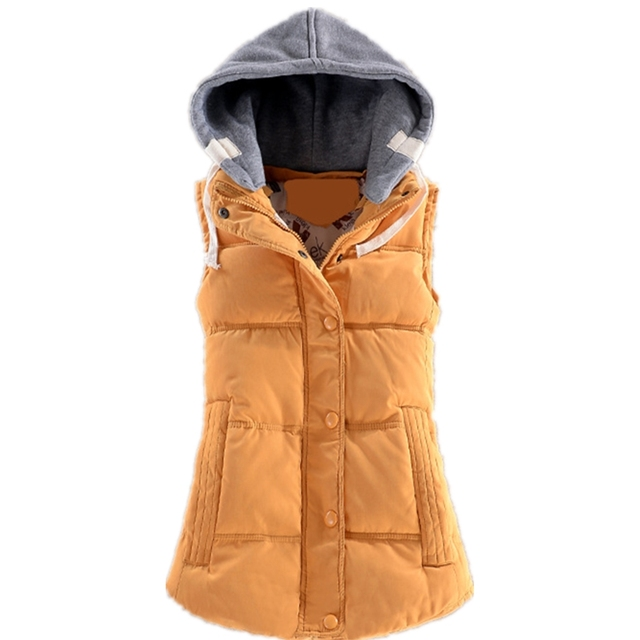 2016 Autumn Winter Feminino Waistcoat Fashion Slim Cotton Women Patchwork Sleeveless Hooded Casual Coat Colete Lady Vest Z2355